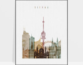 Vienna skyline poster watercolor 1