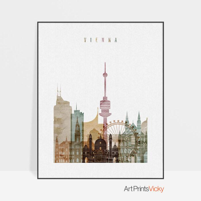 Vienna skyline poster watercolor 1