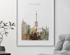 Vienna skyline poster watercolor 1 second