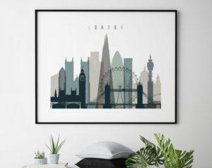 London skyline poster landscape earth tones 4 second