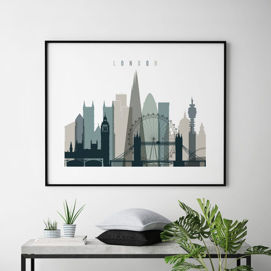 London skyline poster landscape earth tones 4 second