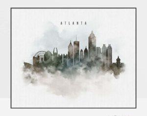 Atlanta cityscape print watercolor