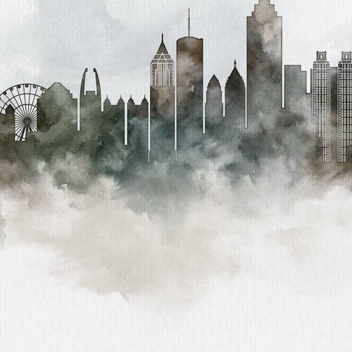 Atlanta cityscape print watercolor detail photo