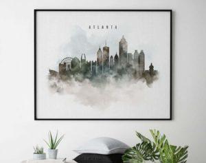 Atlanta cityscape print watercolor second