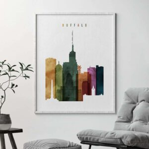 Buffalo poster watercolor 3 second