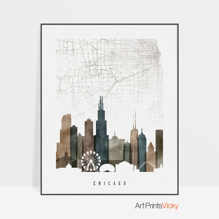 Chicago map poster watercolor 2