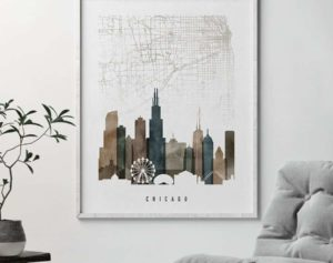 Chicago map poster watercolor 2 second