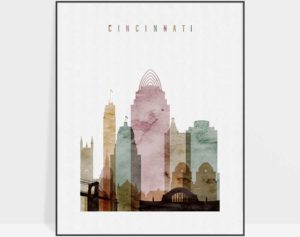 Cincinnati print watercolor 1