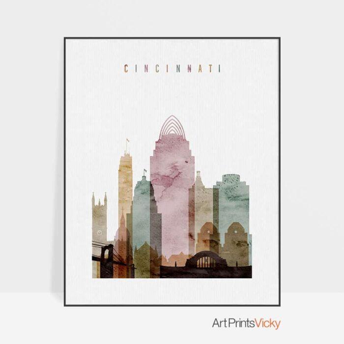 Cincinnati print watercolor 1