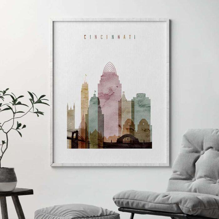 Cincinnati print watercolor 1 second