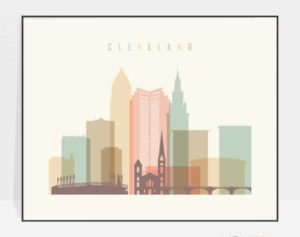 Cleveland wall art landscape pastel cream
