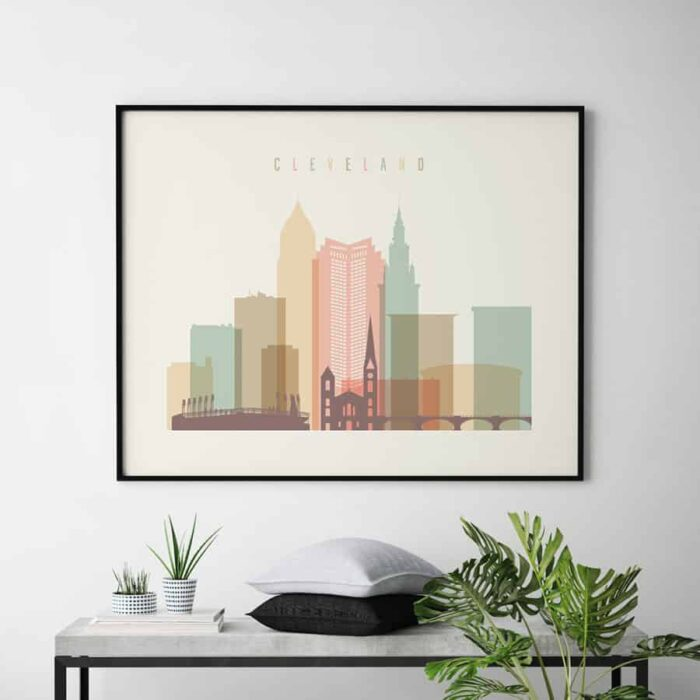 Cleveland wall art landscape pastel cream second