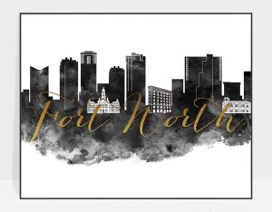 Fort Worth skyline print black white gold