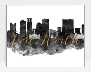 Fort Worth skyline print black white gold