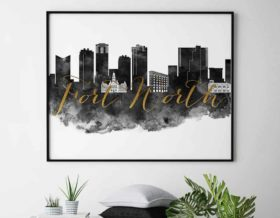 Fort Worth skyline print black white gold second