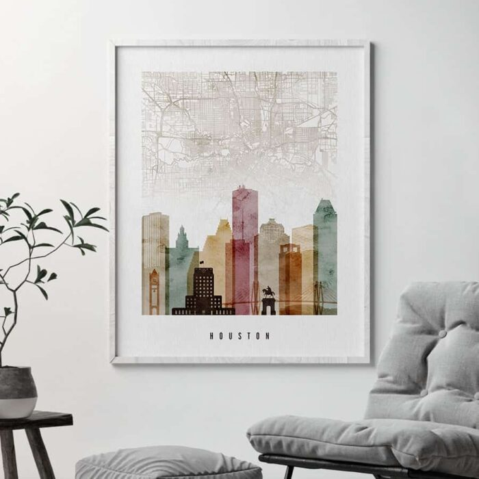 Houston map print watercolor 1 second