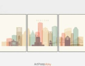 Houston set of 3 prints pastel cream