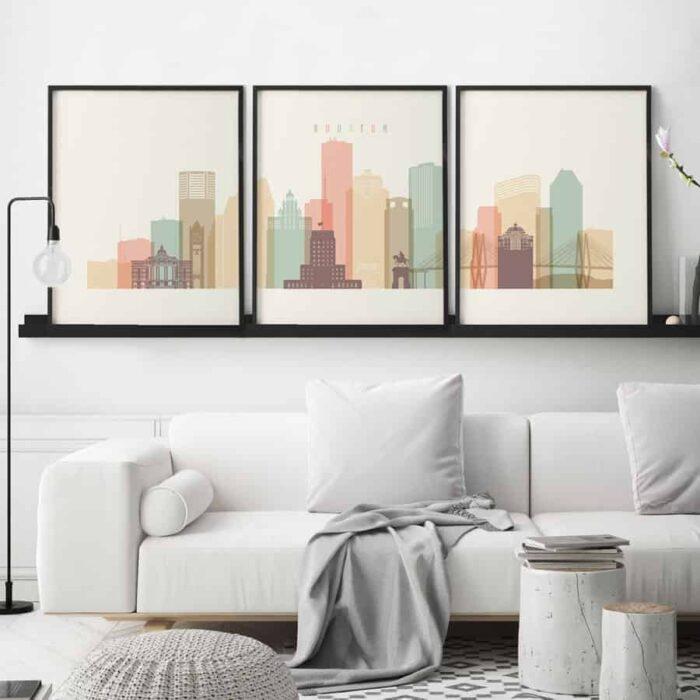 Houston set of 3 prints pastel cream second