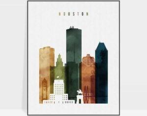 Houston skyline print watercolor 3