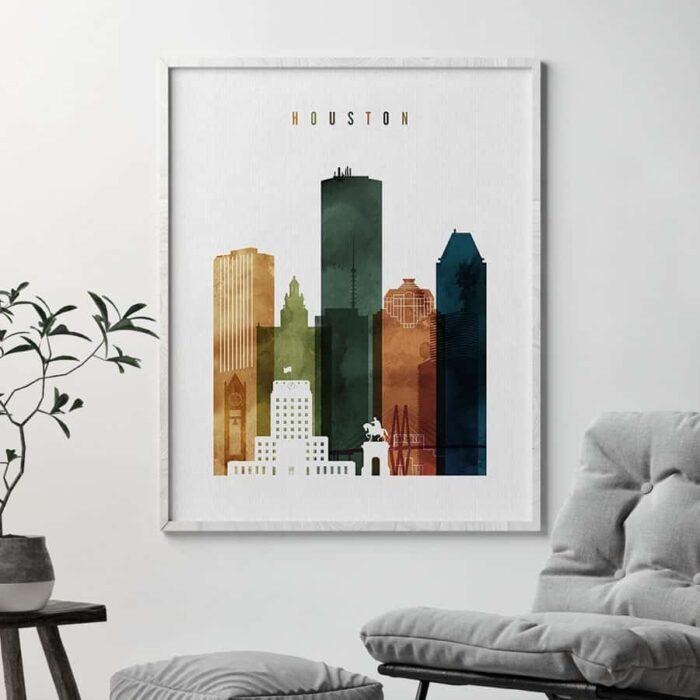 Houston skyline print watercolor 3 second