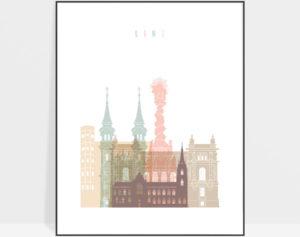 Linz skyline poster pastel white