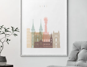 Linz skyline poster pastel white second