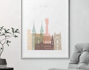 Linz skyline poster pastel white second
