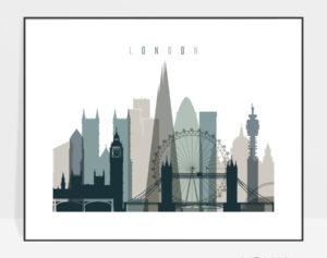 London skyline poster landscape earth tones 4