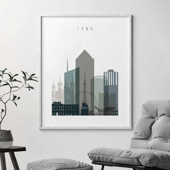 Lyon skyline poster earth tones 4 second