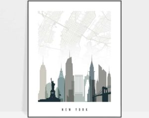 New York City map poster earth tones 4