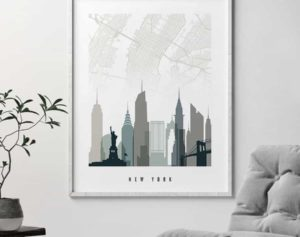 New York City map poster earth tones 4 second