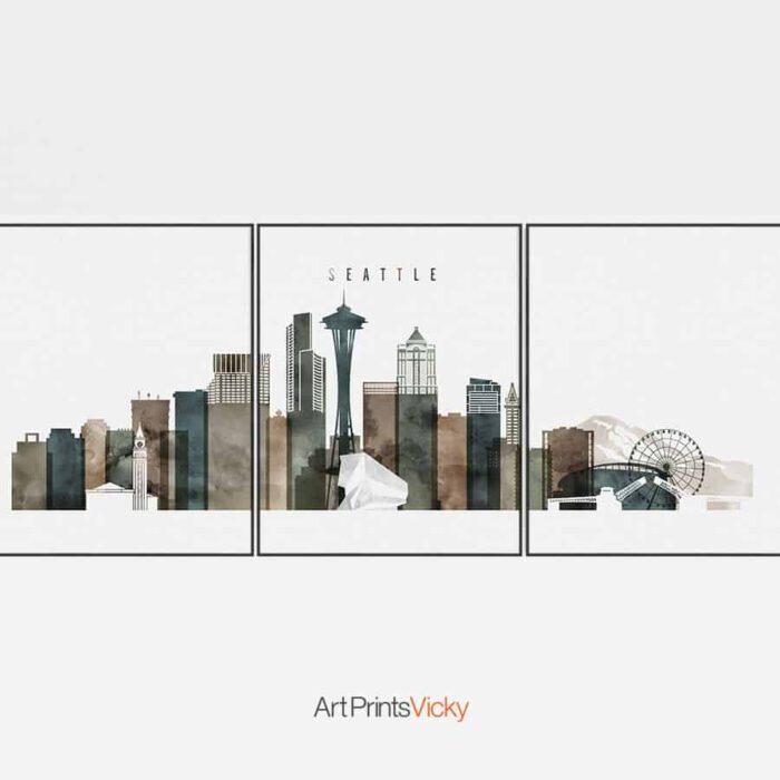 Seattle 3 Prints Set Watercolor 2