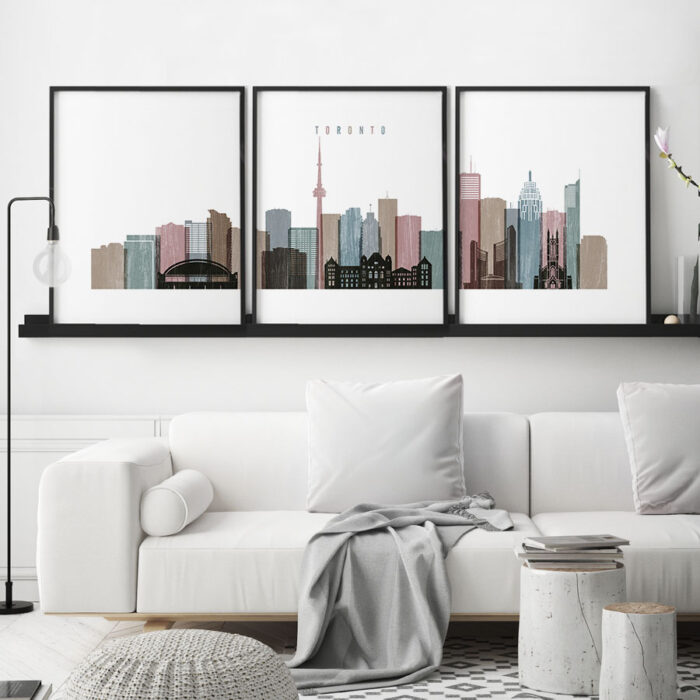 Toronto 3 piece wall art distressed 1 second