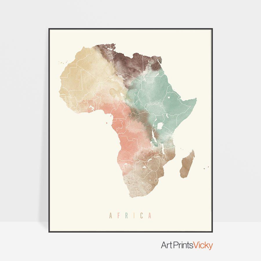 Africa map poster pastel cream