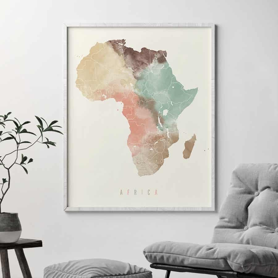 Africa map poster pastel cream second