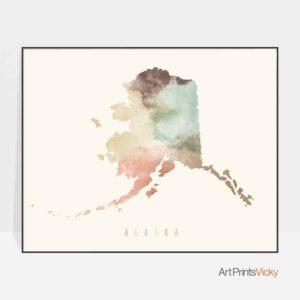 Alaska map print pastel cream