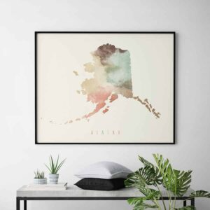 Alaska map print pastel cream second