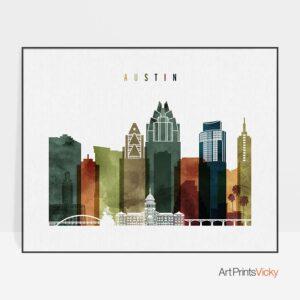 Austin poster landscape watercolor 3