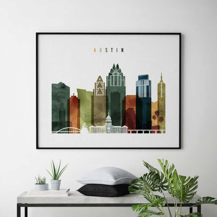Austin poster landscape watercolor 3 second