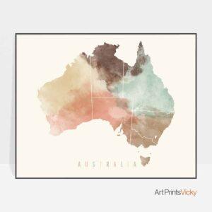 Australia map poster pastel cream
