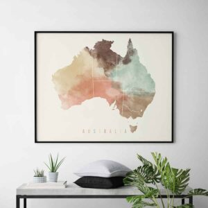 Australia map poster pastel cream second