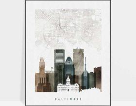 Baltimore map poster watercolor 2