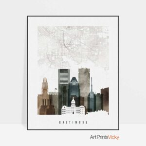 Baltimore map poster watercolor 2