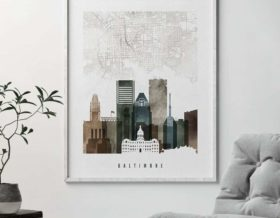 Baltimore map poster watercolor 2 second