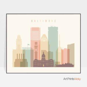 Baltimore skyline poster landscape