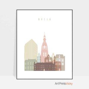Breda skyline poster pastel white