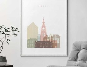 Breda skyline poster pastel white second