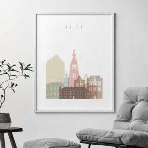 Breda skyline poster pastel white second