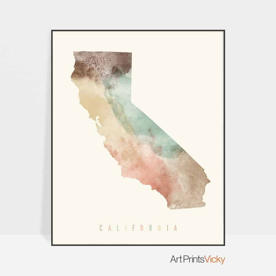 California map print pastel cream