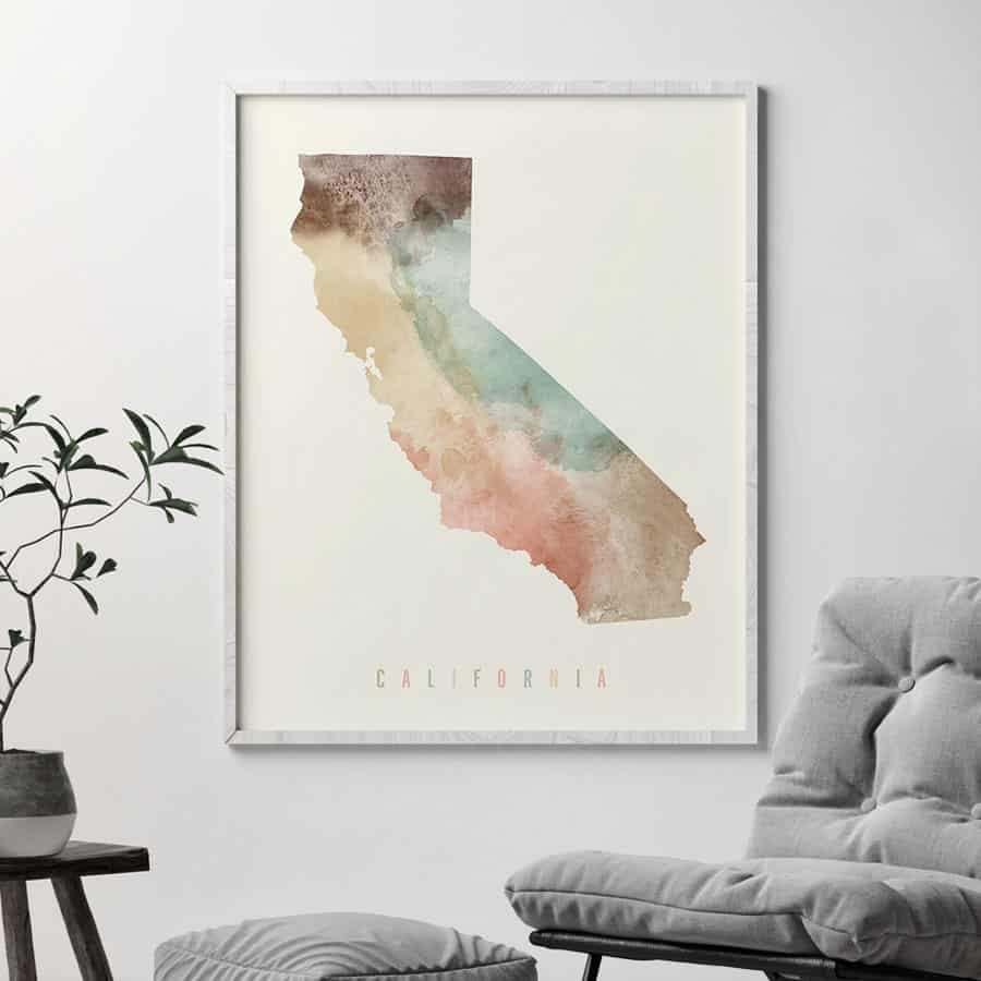 California map print pastel cream second